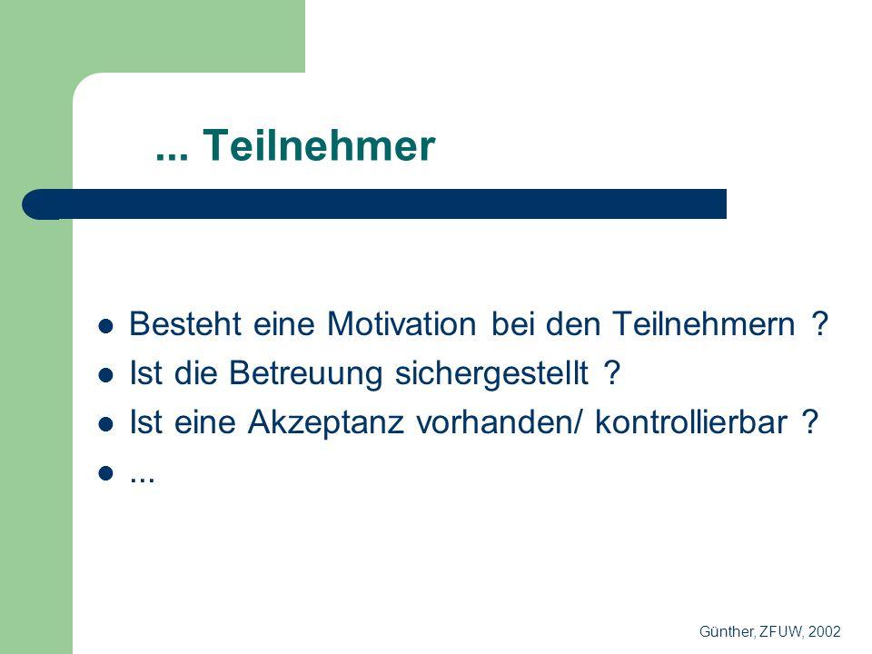 ... Teilnehmer Besteht eine Motivation bei den Teilnehmern .