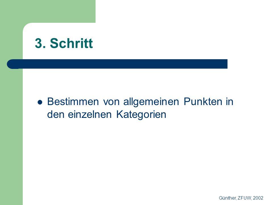 3. Schritt Bestimmen von allgemeinen Punkten in den einzelnen Kategorien Günther, ZFUW, 2002