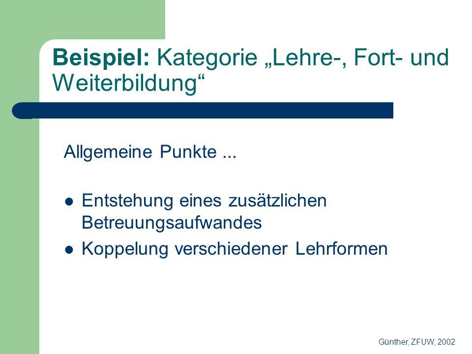Beispiel: Kategorie Lehre-, Fort- und Weiterbildung Allgemeine Punkte...