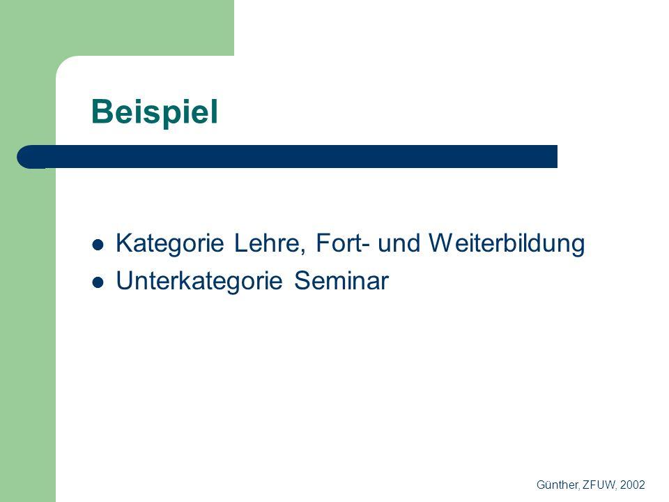 Beispiel Kategorie Lehre, Fort- und Weiterbildung Unterkategorie Seminar Günther, ZFUW, 2002