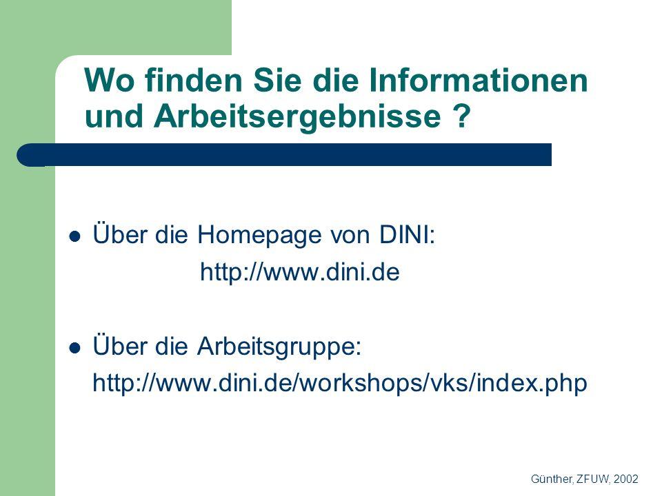 Wo finden Sie die Informationen und Arbeitsergebnisse .
