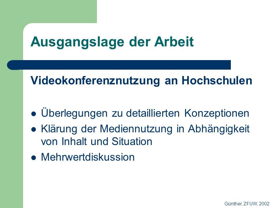 Ausgangslage der Arbeit Videokonferenznutzung an Hochschulen Überlegungen zu detaillierten Konzeptionen Klärung der Mediennutzung in Abhängigkeit von Inhalt und Situation Mehrwertdiskussion Günther, ZFUW, 2002