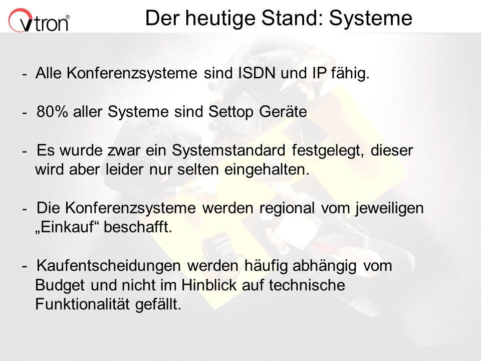 06.11.02 / Folie 11 Der heutige Stand: Systeme - Alle Konferenzsysteme sind ISDN und IP fähig. - 80% aller Systeme sind Settop Geräte - Es wurde zwar