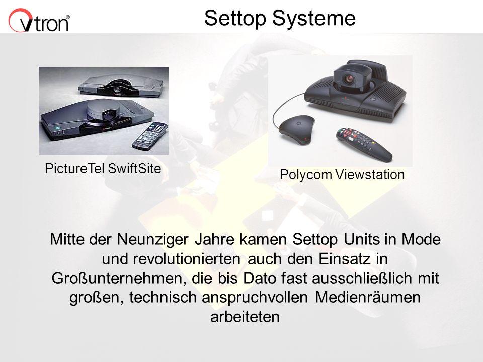 06.11.02 / Folie 3 Settop Systeme Mitte der Neunziger Jahre kamen Settop Units in Mode und revolutionierten auch den Einsatz in Großunternehmen, die bis Dato fast ausschließlich mit großen, technisch anspruchvollen Medienräumen arbeiteten PictureTel SwiftSite Polycom Viewstation