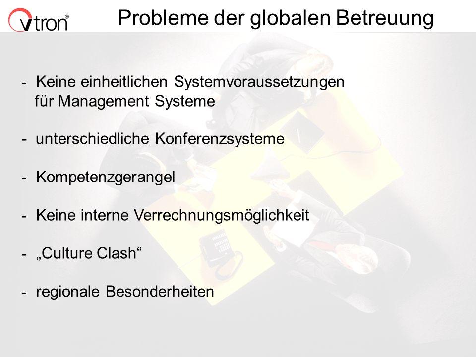 06.11.02 / Folie 9 Probleme der globalen Betreuung - Keine einheitlichen Systemvoraussetzungen für Management Systeme - unterschiedliche Konferenzsyst