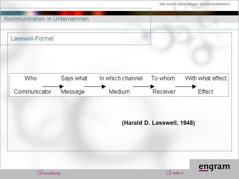 seite 4 vorstellung Kommunikation in Unternehmen (Harald D. Lasswell, 1948) Lasswell-Formel