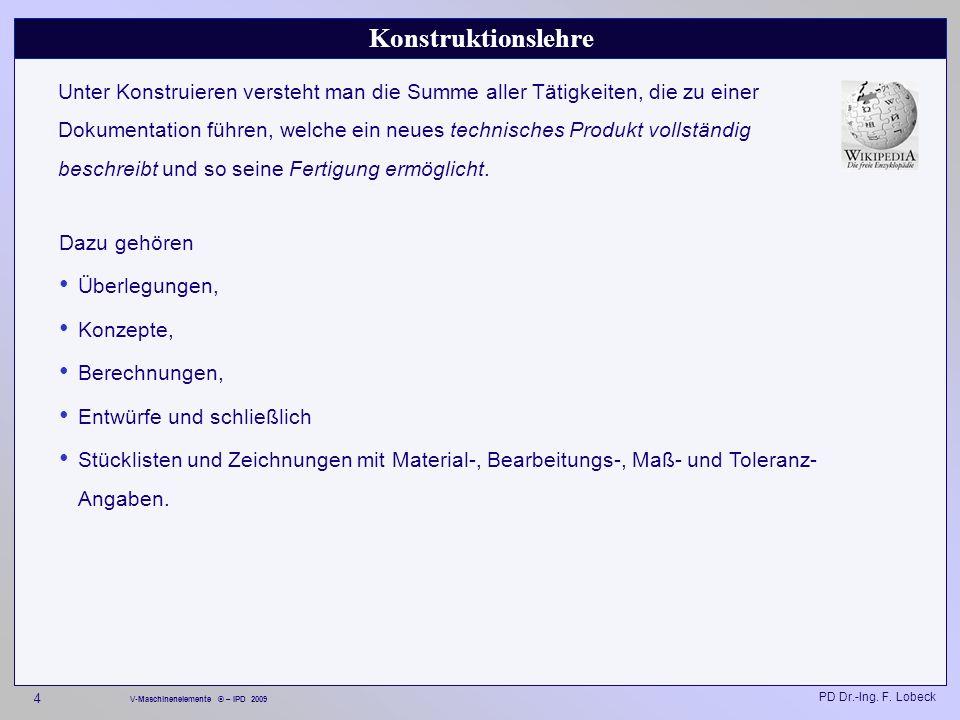 PD Dr.-Ing. F. Lobeck 185 V-Maschinenelemente © – IPD 2009 Normteile