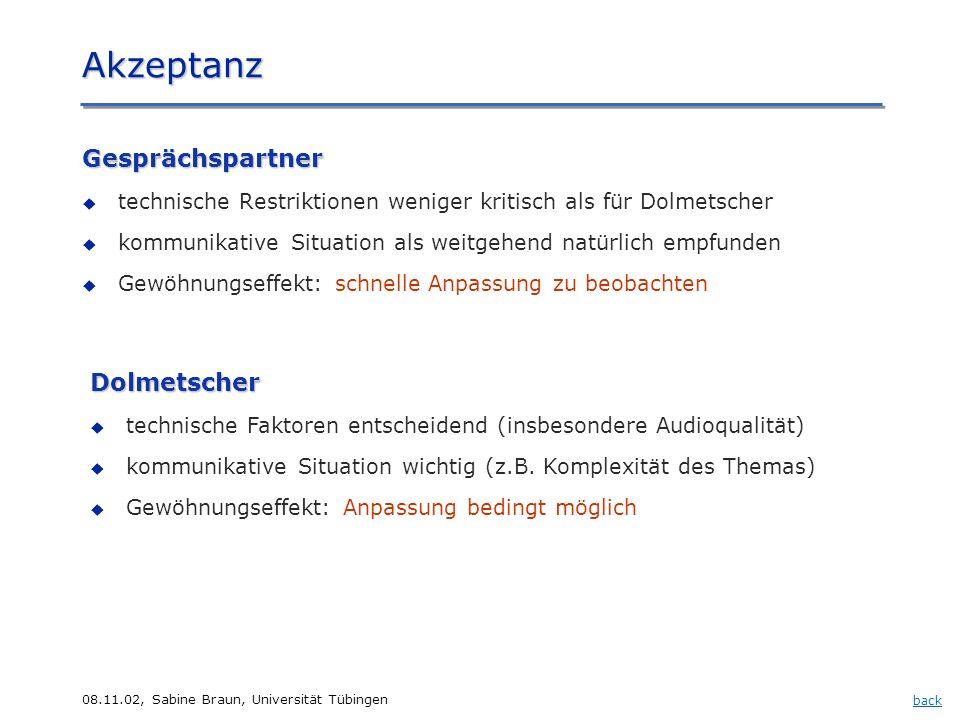 08.11.02, Sabine Braun, Universität Tübingen Akzeptanz Gesprächspartner technische Restriktionen weniger kritisch als für Dolmetscher kommunikative Si