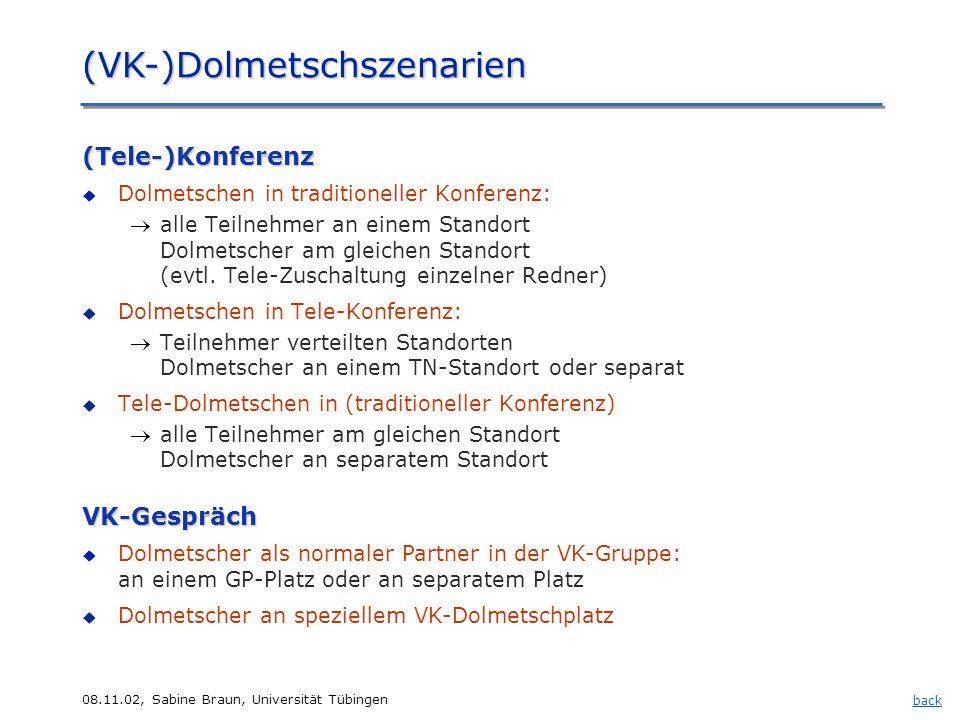 08.11.02, Sabine Braun, Universität Tübingen (VK-)Dolmetschszenarien (Tele-)Konferenz Dolmetschen in traditioneller Konferenz: alle Teilnehmer an eine
