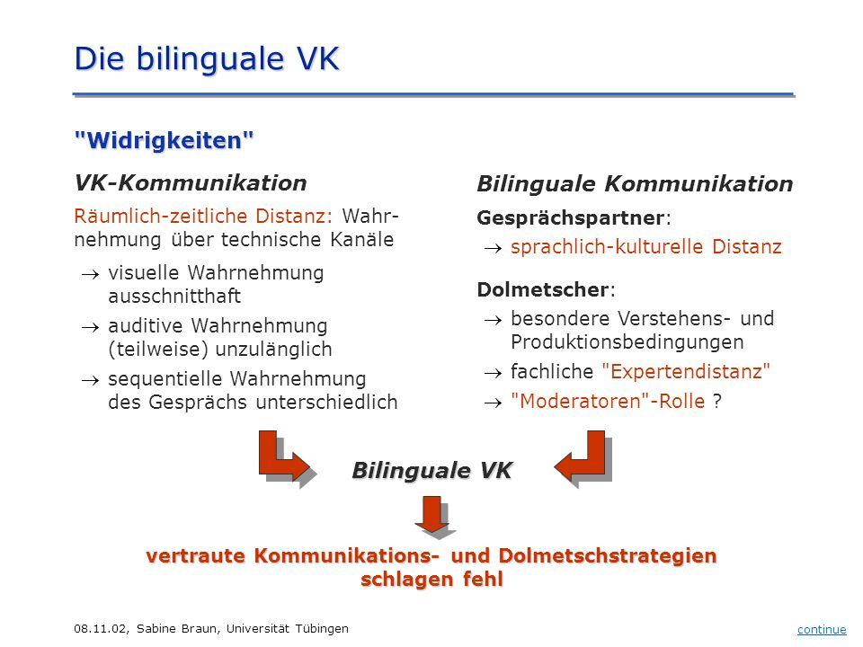 08.11.02, Sabine Braun, Universität Tübingen Die bilinguale VK