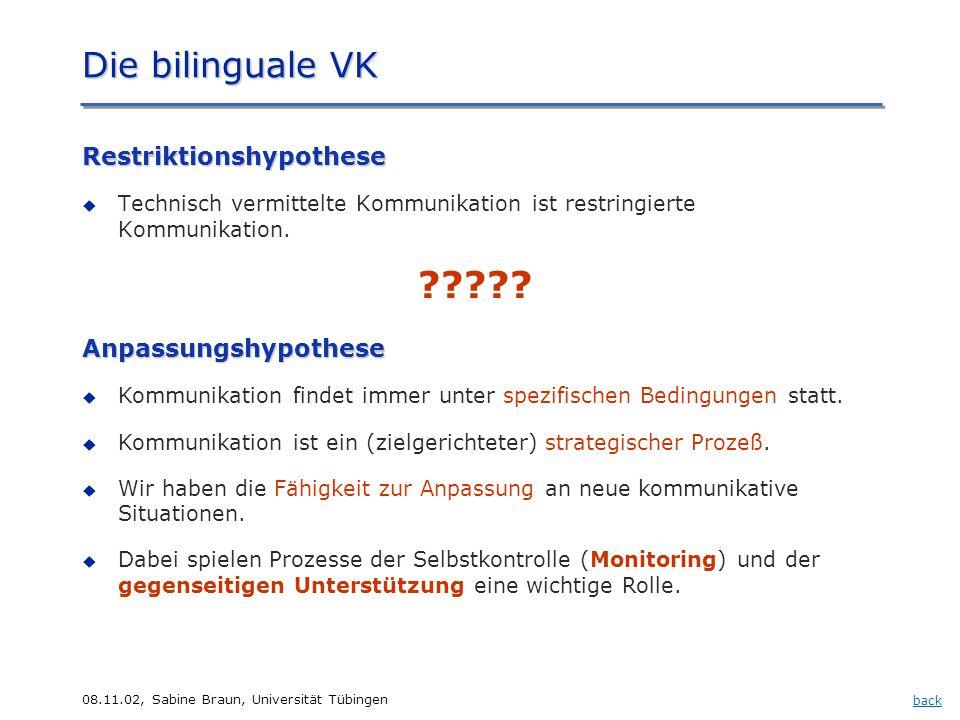 08.11.02, Sabine Braun, Universität Tübingen ????? Restriktionshypothese Technisch vermittelte Kommunikation ist restringierte Kommunikation. Anpassun