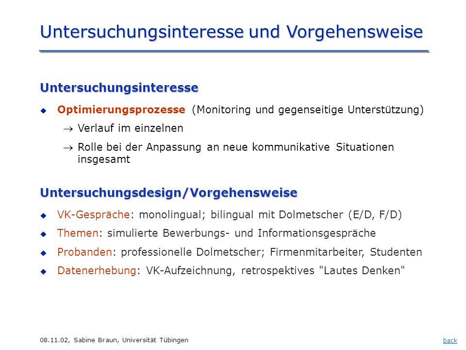 08.11.02, Sabine Braun, Universität Tübingen Untersuchungsinteresse und Vorgehensweise backUntersuchungsdesign/Vorgehensweise VK-Gespräche: monolingua