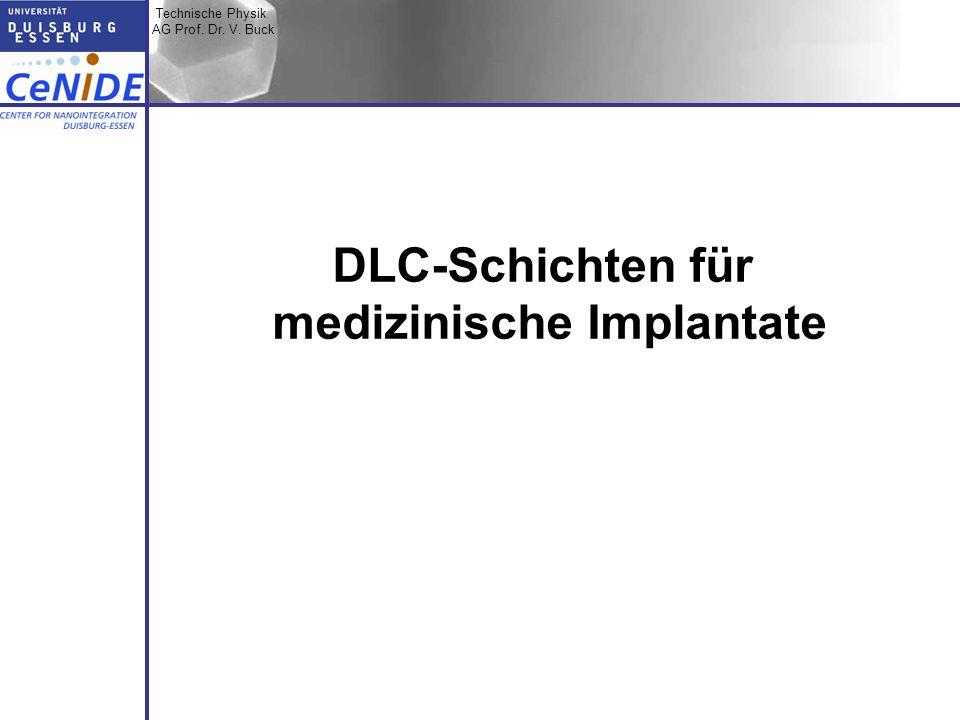Technische Physik AG Prof. Dr. V. Buck Topic I Topic II Topic III Zusammen- fassung DLC-Schichten für medizinische Implantate