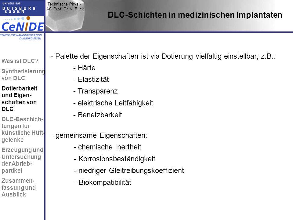 Technische Physik AG Prof. Dr. V. Buck Topic I Topic II Topic III Zusammen- fassung DLC-Schichten in medizinischen Implantaten - Transparenz - Elastiz