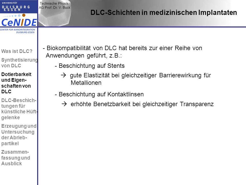 Technische Physik AG Prof. Dr. V. Buck Topic I Topic II Topic III Zusammen- fassung DLC-Schichten in medizinischen Implantaten - Biokompatibilität von