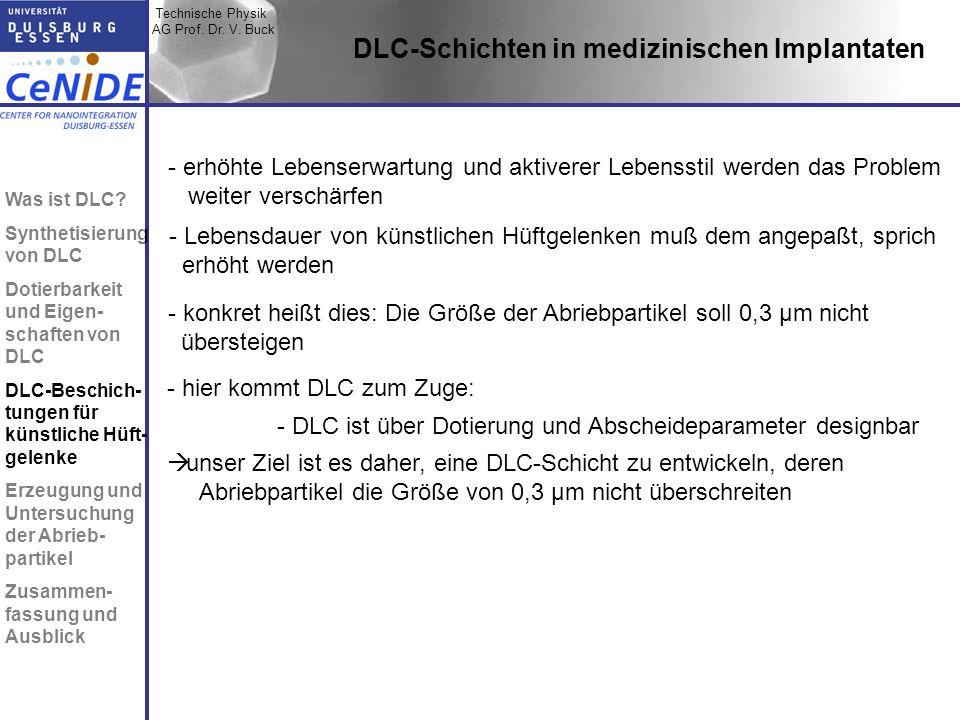 Technische Physik AG Prof. Dr. V. Buck Topic I Topic II Topic III Zusammen- fassung DLC-Schichten in medizinischen Implantaten - erhöhte Lebenserwartu