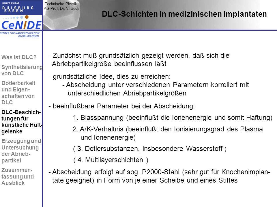 Technische Physik AG Prof. Dr. V. Buck Topic I Topic II Topic III Zusammen- fassung DLC-Schichten in medizinischen Implantaten - Zunächst muß grundsät