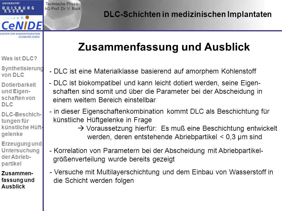 Technische Physik AG Prof. Dr. V. Buck Topic I Topic II Topic III Zusammen- fassung DLC-Schichten in medizinischen Implantaten Zusammenfassung und Aus