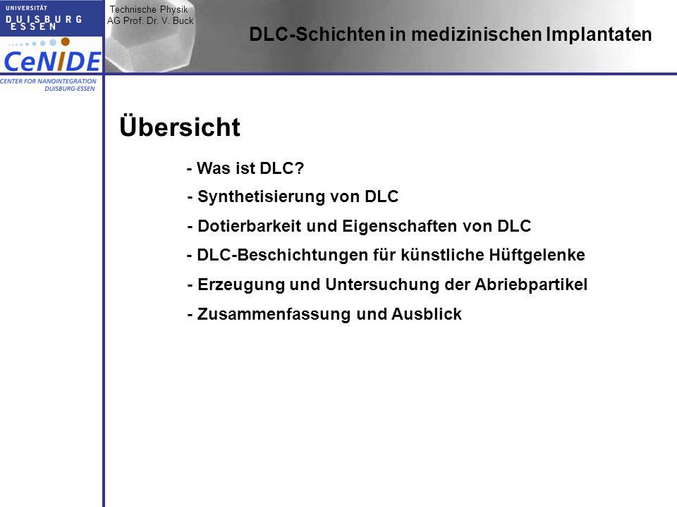 Technische Physik AG Prof. Dr. V. Buck Topic I Topic II Topic III Zusammen- fassung DLC-Schichten in medizinischen Implantaten Übersicht - Was ist DLC