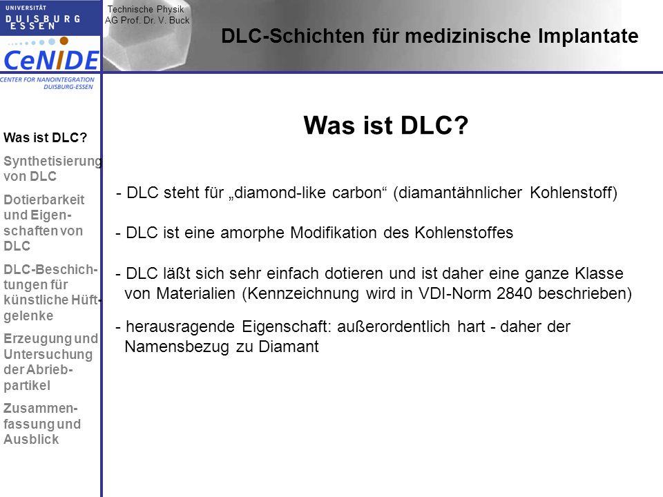 Technische Physik AG Prof. Dr. V. Buck Topic I Topic II Topic III Zusammen- fassung DLC-Schichten für medizinische Implantate - DLC steht für diamond-
