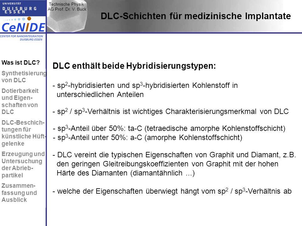 Technische Physik AG Prof. Dr. V. Buck Topic I Topic II Topic III Zusammen- fassung DLC enthält beide Hybridisierungstypen: - sp 2 -hybridisierten und