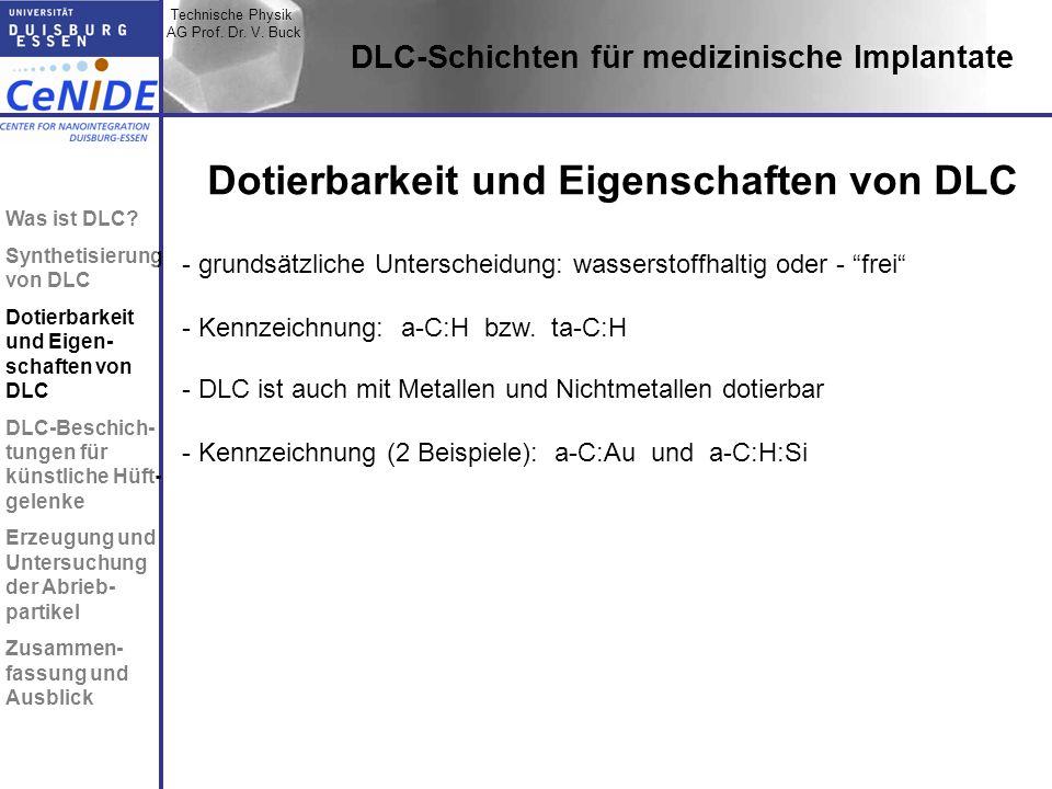 Technische Physik AG Prof. Dr. V. Buck Topic I Topic II Topic III Zusammen- fassung DLC-Schichten für medizinische Implantate Dotierbarkeit und Eigens