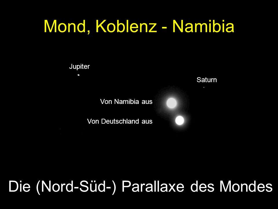 Mond, Koblenz - Namibia Jupiter Saturn Von Namibia aus Von Deutschland aus Die (Nord-Süd-) Parallaxe des Mondes