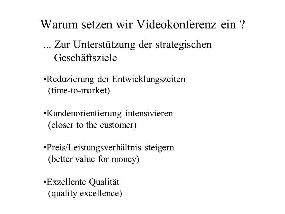 Warum setzen wir Videokonferenz ein ?... Zur Unterstützung der strategischen Geschäftsziele Reduzierung der Entwicklungszeiten (time-to-market) Kunden
