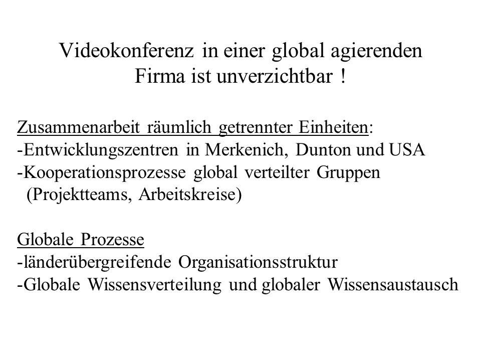 Videokonferenz in einer global agierenden Firma ist unverzichtbar ! Zusammenarbeit räumlich getrennter Einheiten: -Entwicklungszentren in Merkenich, D
