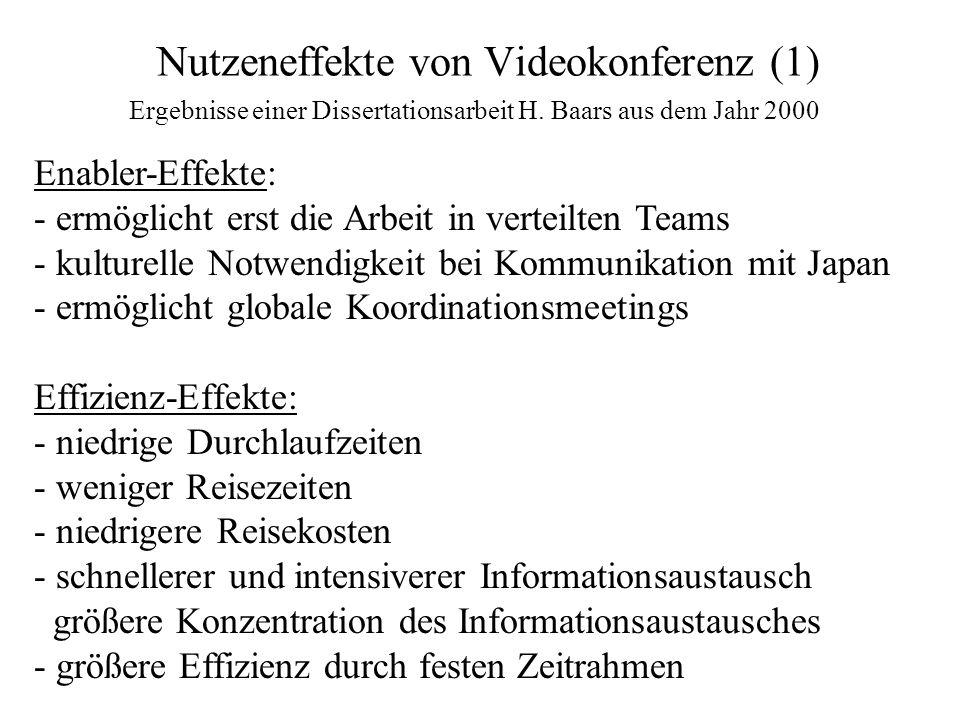 Nutzeneffekte von Videokonferenz (1) Enabler-Effekte: - ermöglicht erst die Arbeit in verteilten Teams - kulturelle Notwendigkeit bei Kommunikation mi
