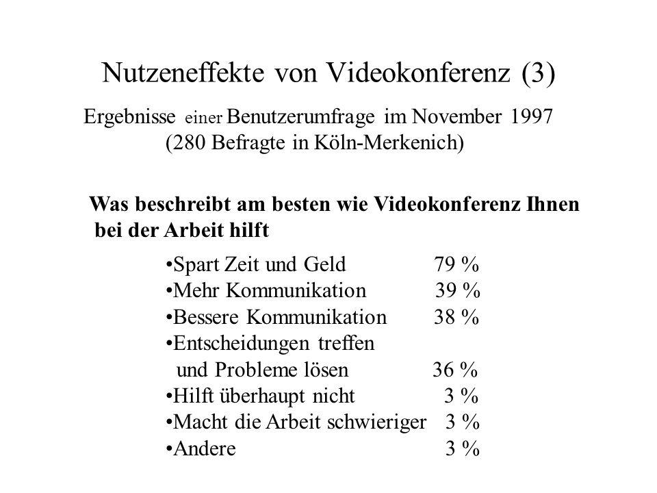Nutzeneffekte von Videokonferenz (3) Ergebnisse einer Benutzerumfrage im November 1997 (280 Befragte in Köln-Merkenich) Spart Zeit und Geld 79 % Mehr