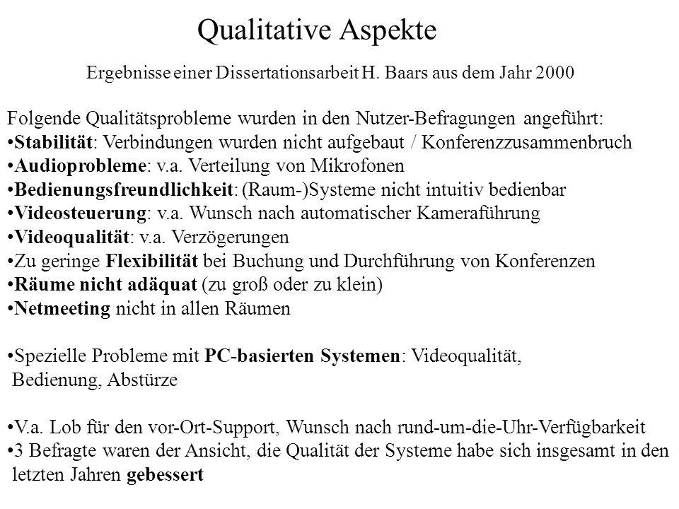 Qualitative Aspekte Folgende Qualitätsprobleme wurden in den Nutzer-Befragungen angeführt: Stabilität: Verbindungen wurden nicht aufgebaut / Konferenz