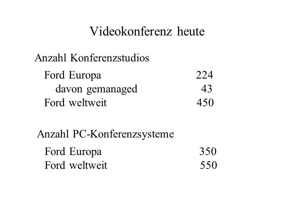 Anzahl Konferenzstudios Ford Europa 224 davon gemanaged 43 Ford weltweit 450 Anzahl PC-Konferenzsysteme Ford Europa 350 Ford weltweit 550 Videokonfere