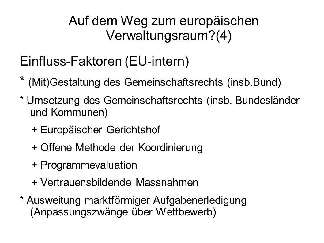 Auf dem Weg zum europäischen Verwaltungsraum?(4) Einfluss-Faktoren (EU-intern) * (Mit)Gestaltung des Gemeinschaftsrechts (insb.Bund) * Umsetzung des Gemeinschaftsrechts (insb.