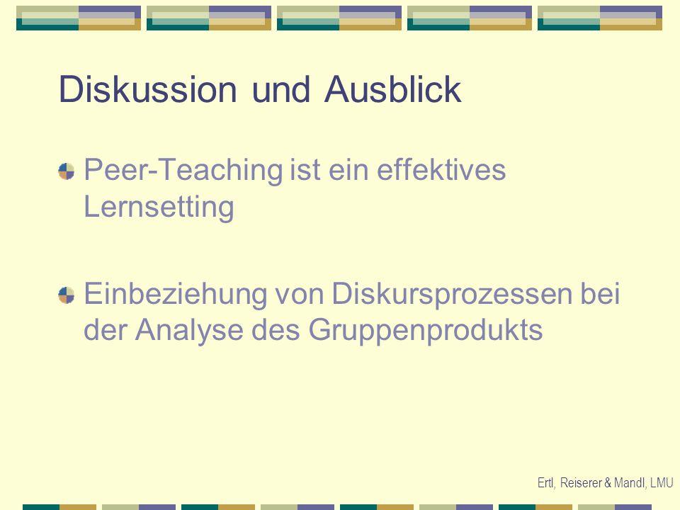 Ertl, Reiserer & Mandl, LMU Diskussion und Ausblick Peer-Teaching ist ein effektives Lernsetting Einbeziehung von Diskursprozessen bei der Analyse des