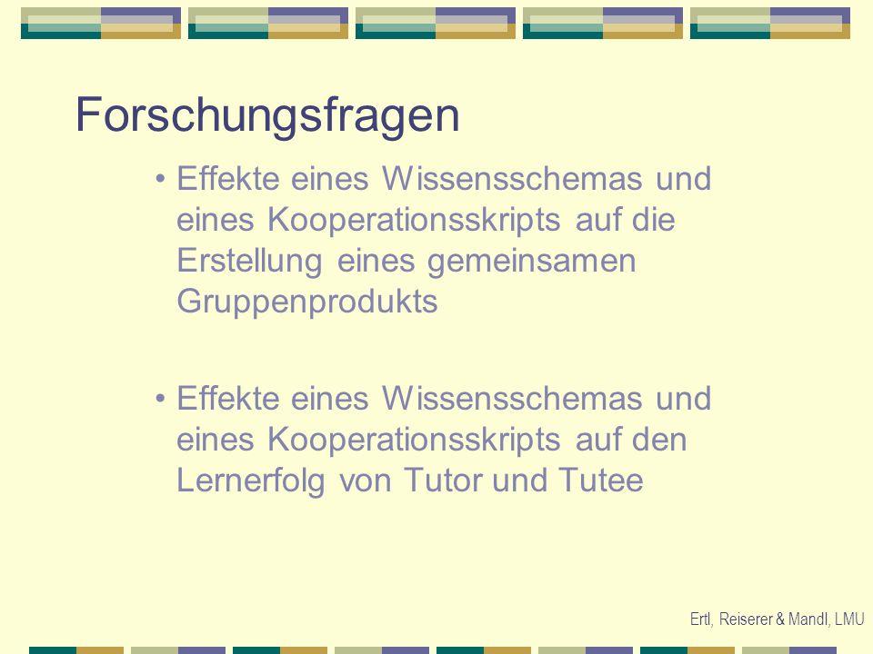 Ertl, Reiserer & Mandl, LMU Forschungsfragen Effekte eines Wissensschemas und eines Kooperationsskripts auf die Erstellung eines gemeinsamen Gruppenpr