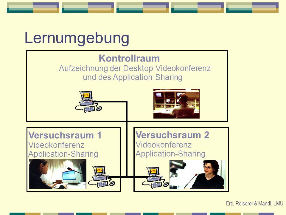 Ertl, Reiserer & Mandl, LMU Lernumgebung Versuchsraum 2 Videokonferenz Application-Sharing Versuchsraum 1 Videokonferenz Application-Sharing Kontrollraum Aufzeichnung der Desktop-Videokonferenz und des Application-Sharing -