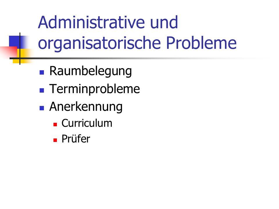 Administrative und organisatorische Probleme Raumbelegung Terminprobleme Anerkennung Curriculum Prüfer
