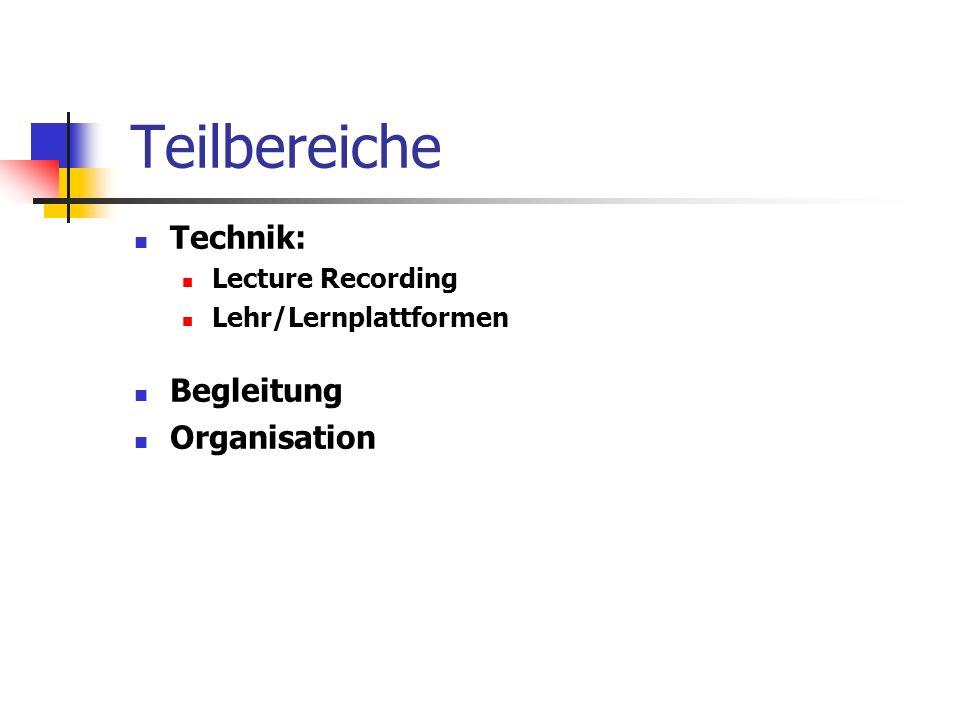 Teilbereiche Technik: Lecture Recording Lehr/Lernplattformen Begleitung Organisation