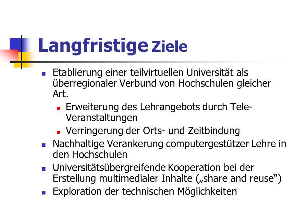 Langfristige Ziele Etablierung einer teilvirtuellen Universität als überregionaler Verbund von Hochschulen gleicher Art.