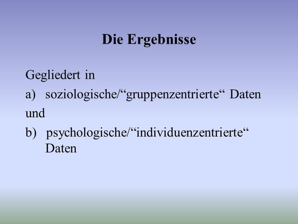 Die Ergebnisse Gegliedert in a)soziologische/gruppenzentrierte Daten und b) psychologische/individuenzentrierte Daten