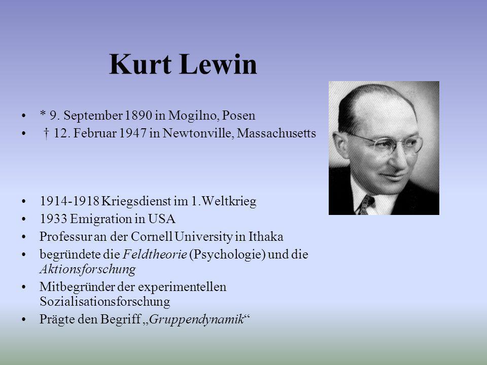 Kurt Lewin * 9. September 1890 in Mogilno, Posen 12. Februar 1947 in Newtonville, Massachusetts 1914-1918 Kriegsdienst im 1.Weltkrieg 1933 Emigration