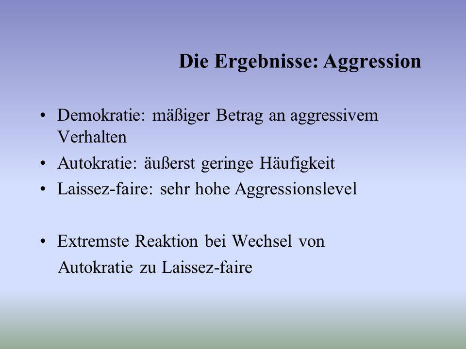 Die Ergebnisse: Aggression Demokratie: mäßiger Betrag an aggressivem Verhalten Autokratie: äußerst geringe Häufigkeit Laissez-faire: sehr hohe Aggress