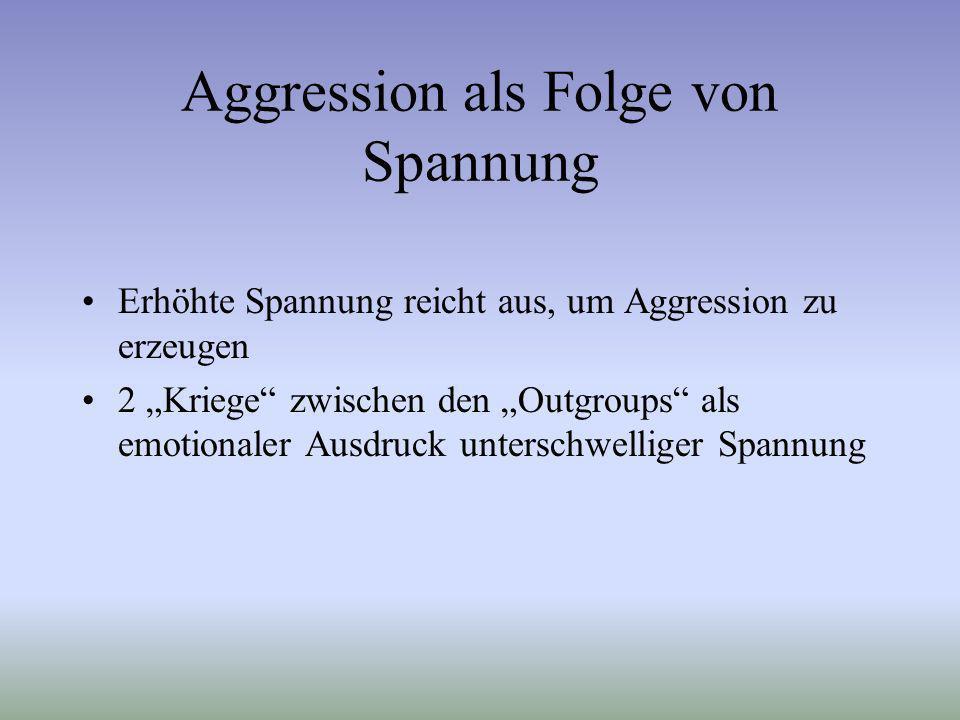 Aggression als Folge von Spannung Erhöhte Spannung reicht aus, um Aggression zu erzeugen 2 Kriege zwischen den Outgroups als emotionaler Ausdruck unte