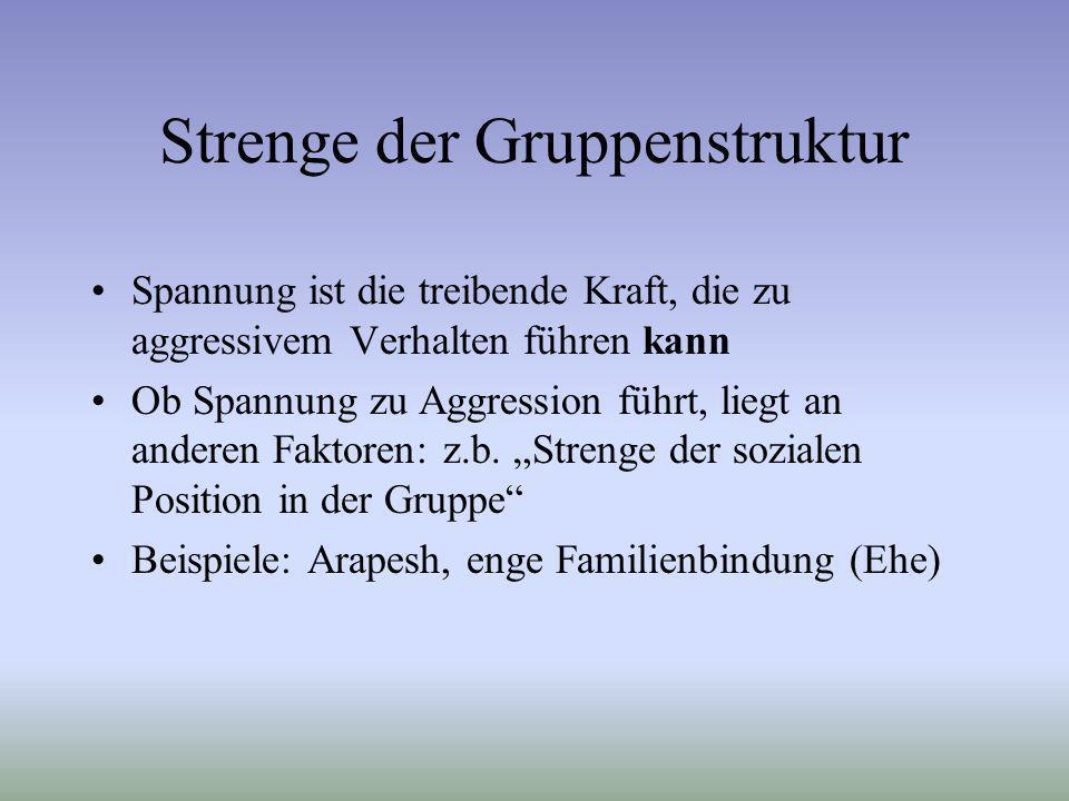 Strenge der Gruppenstruktur Spannung ist die treibende Kraft, die zu aggressivem Verhalten führen kann Ob Spannung zu Aggression führt, liegt an ander