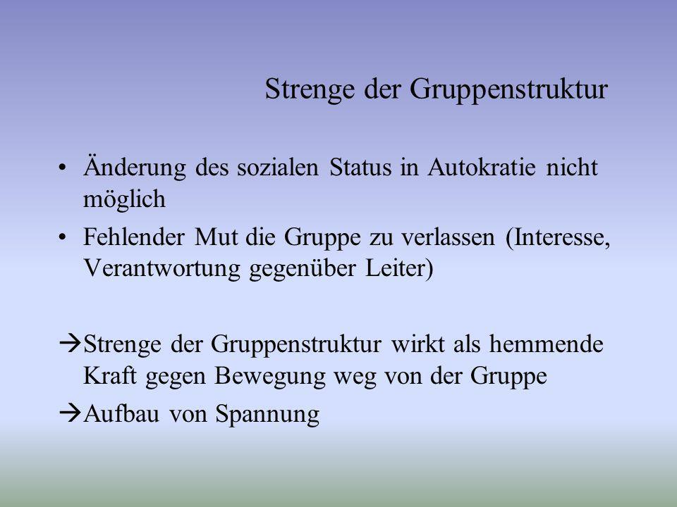 Änderung des sozialen Status in Autokratie nicht möglich Fehlender Mut die Gruppe zu verlassen (Interesse, Verantwortung gegenüber Leiter) Strenge der