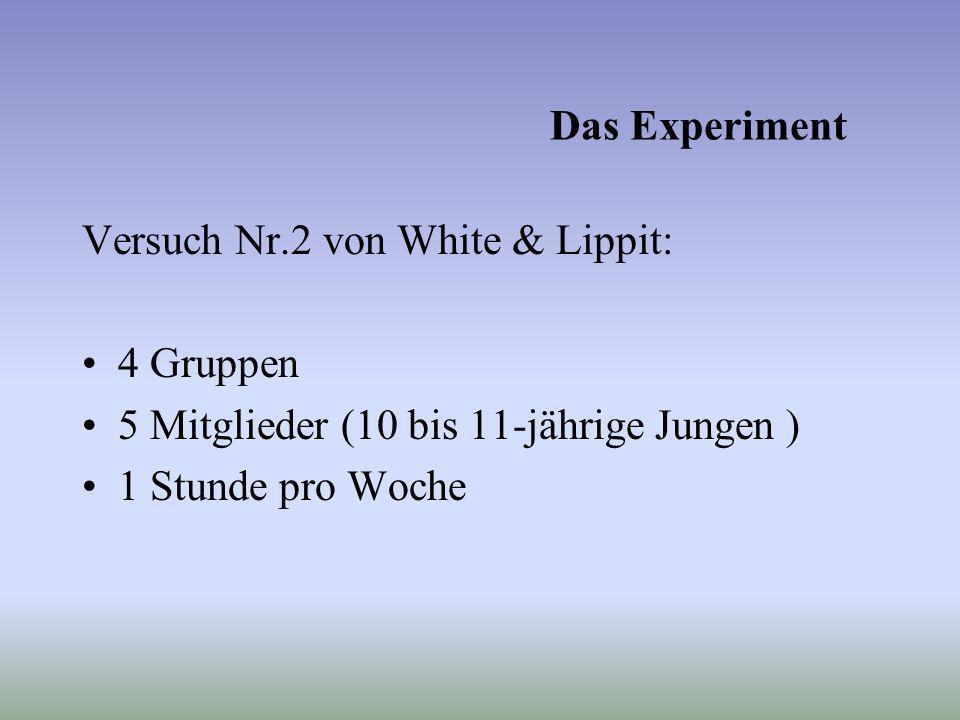 Das Experiment Versuch Nr.2 von White & Lippit: 4 Gruppen 5 Mitglieder (10 bis 11-jährige Jungen ) 1 Stunde pro Woche