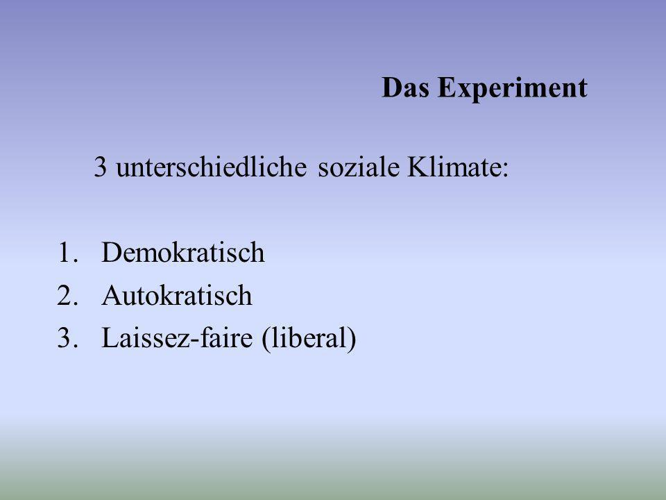 Das Experiment 3 unterschiedliche soziale Klimate: 1.Demokratisch 2.Autokratisch 3.Laissez-faire (liberal)