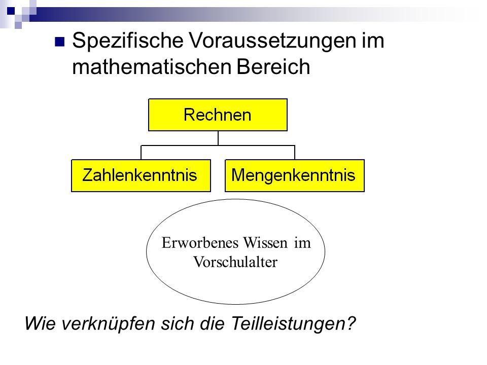 Spezifische Voraussetzungen im mathematischen Bereich Erworbenes Wissen im Vorschulalter Wie verknüpfen sich die Teilleistungen?