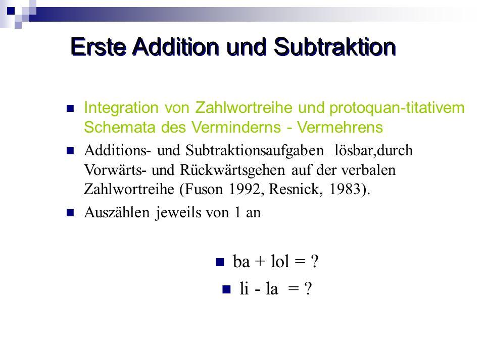 Erste Addition und Subtraktion Integration von Zahlwortreihe und protoquan-titativem Schemata des Verminderns - Vermehrens Additions- und Subtraktions